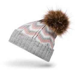 Szara czapka damska na zimę ocieplana cz30 brodrene
