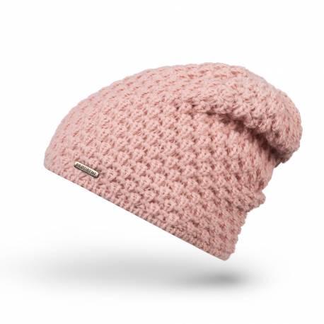 Ciepła pudrowa czapka zimowa damska cz25 brodrene