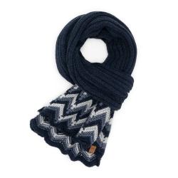 Granatowy modny szal damski zimowy s3 brodrene