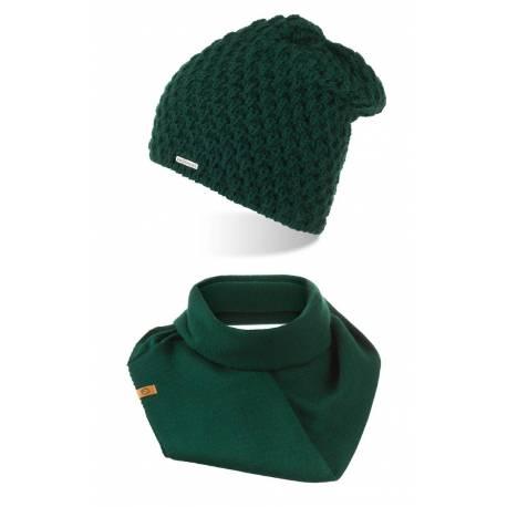 Brødrene zestaw zimowy damska czapka z pomponem oraz komin zimowy