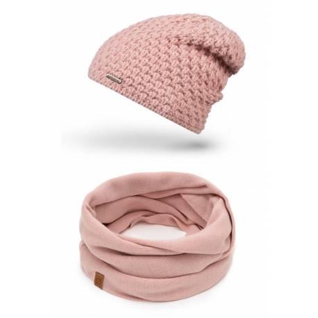 Damska czapka z polarem + komin zimowy brødrene komplet 2w1
