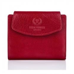 Czerwony skórzany portfel damski paolo peruzzi