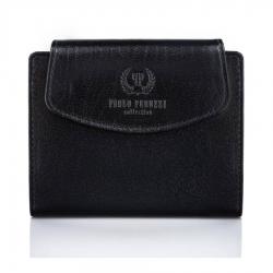 Czarny skórzany portfel paolo peruzzi t-12 damski