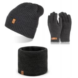 Ciemnoszary komplet na zimę czapka komin rękawiczki