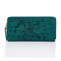 Zielony modny portfel damski w kwiaty paolo peruzzi