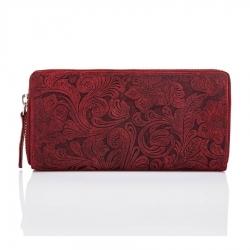 Skórzany portfel damski w kwiaty czerwony