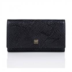 Czarny duży skórzany portfel damski paolo peruzzi