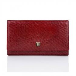 Czerwony duży portfel damski skórzany paolo peruzzi