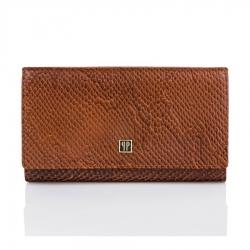 Brązowy skórzany portfel damski paolo peruzzi