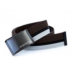 Brązowo biało czarny pasek do spodni parcianka brodrene p11 graphite