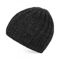 Ciemnoszara czapka męska zimowa z wełny