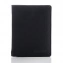 Czarny elegancki skórzany portfel franko