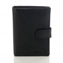 Czarny skórzany klasyczny męski portfel z patką